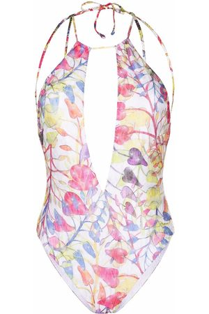 Missoni Leaf-print cut-out swimsuit
