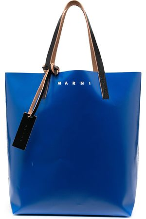 Marni Heren Shoppers - Logo-print two-tone tote bag