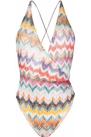 Missoni Chevron-knit V-neck one-piece