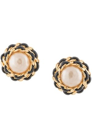 CHANEL Chain-link pearl-embellished clip-on earrings