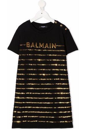 Balmain Kids Sequinned-logo cotton dress