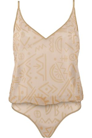 Marlies Dekkers Dames Body's - Golden Karo Body Top   Unwired Unpadded Egyptian Gold And Ivory - L