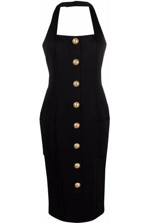 Balmain Halterneck button-embellished dress