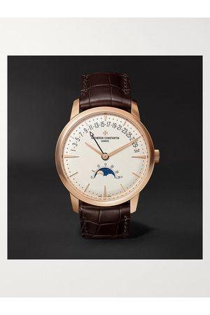 VACHERON CONSTANTIN Heren Horloges - Patrimony Moon-Phase and Retrograde Date Automatic 42.5mm 18-Karat Pink Gold and Alligator Watch, Ref. No. 4010U/000R-B329