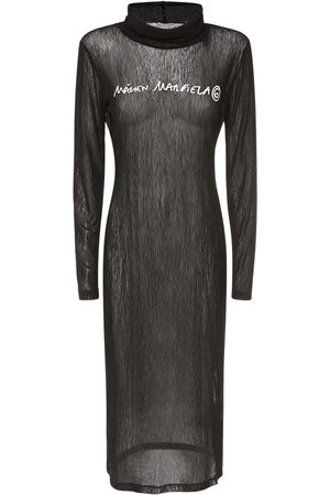 MM6 MAISON MARGIELA Printed Logo Mesh Jersey Dress