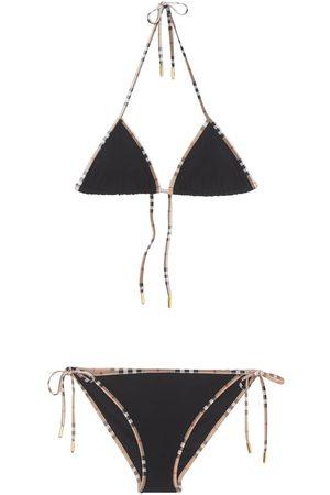 Burberry Dames Bikini's - Nylon Check Printed Bikini