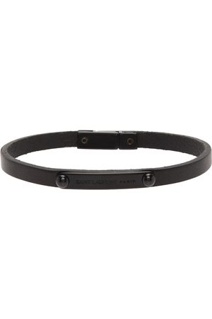 Saint Laurent Black ID Plaque Bracelet