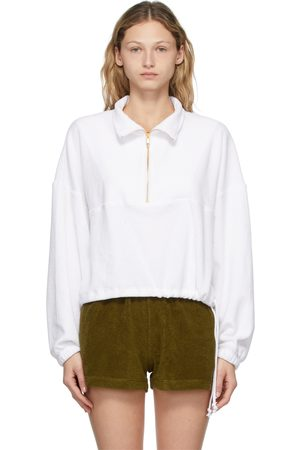 Gil Rodriguez White Terry Half-Zip Diana Pullover