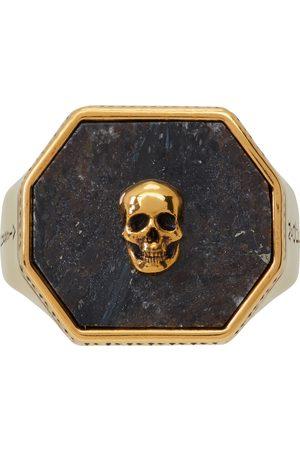 Alexander McQueen Gold & Black Nuummite Skull Signet Ring