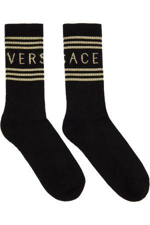 VERSACE Black & Off-White 1990s Logo Socks