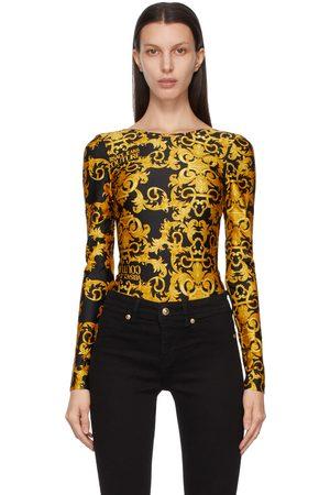 VERSACE Black Baroque Long Sleeve Bodysuit