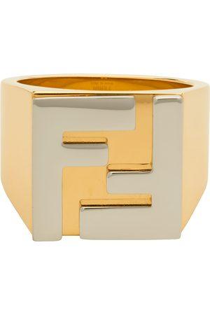 Fendi Gold & Silver 'Forever ' Logo Signet Ring