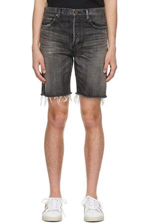Saint Laurent Black Denim Straight Shorts