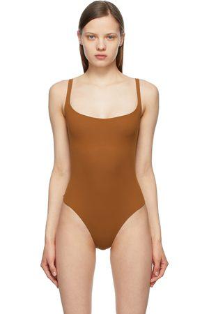 SKIMS Brown Fits Everybody Square Neck Bodysuit