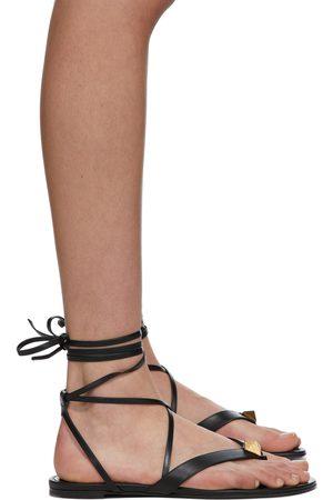 VALENTINO GARAVANI Black Roman Stud Flip Flop Flat Sandals