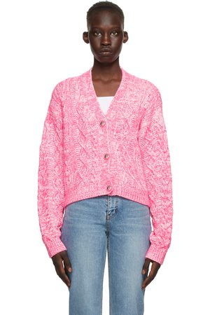 We11 Done Pink & White Cable Knit Cardigan