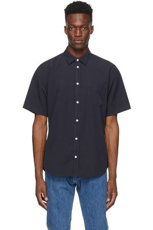Norse projects Heren Korte mouw - Navy Micro Texture Osvald Short Sleeve Shirt
