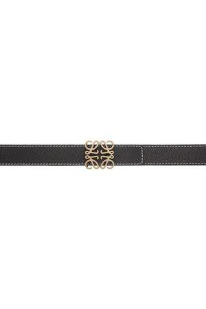 Loewe Heren Riemen - Black Contrast Stitch Anagram Belt