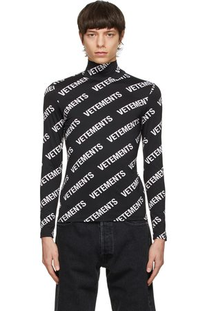 Vetements Heren Coltruien - Black All-Over Logo Fitted Turtleneck