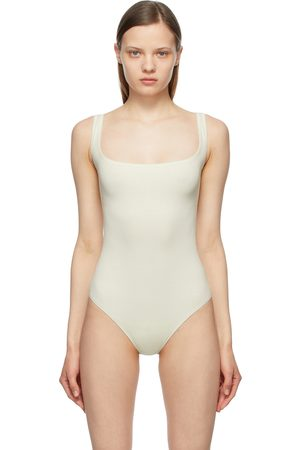SKIMS Off-White Cotton Rib Bodysuit