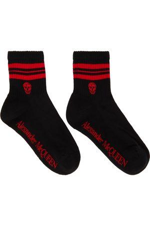 Alexander McQueen Black & Red Stripe Skull Sport Short Socks
