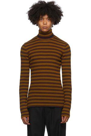 DRIES VAN NOTEN Heren Sweaters - Brown & Navy Striped Sweater