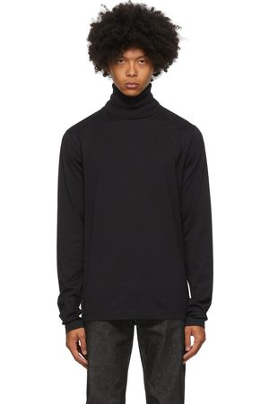 Acne Studios Heren Coltruien - Black Jersey Roll Turtleneck