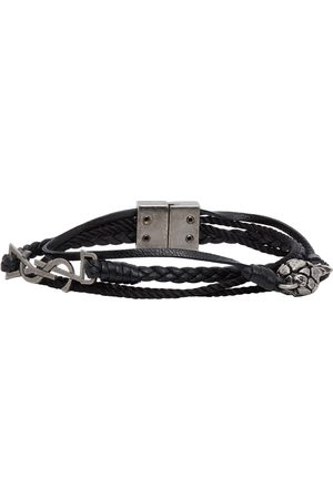 Saint Laurent Black Leather Braided Pineapple Monogram Bracelet