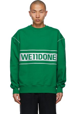 We11 Done Green Reflective Logo Sweatshirt