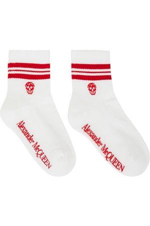 Alexander McQueen White & Red Stripe Skull Sport Short Socks