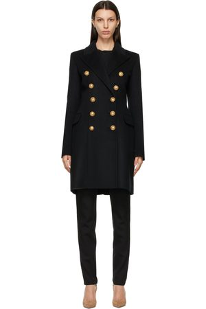 Balmain Black Wool Double-Breasted Coat