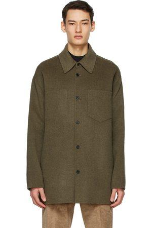 Acne Studios Heren T-shirts - Khaki Wool Double-Faced Shirt