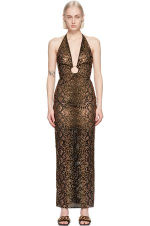 VERSACE Black & Brown Python Print Evening Dress