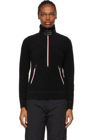 Moncler Black Zip Mock Polo Neck Guard Sweatshirt