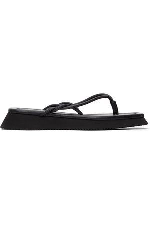LE 17 SEPTEMBRE Dames Teenslippers - Black Braided Leather Flip-Flops