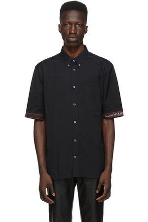 Alexander McQueen Black & Red Poplin Logo Short Sleeve Shirt