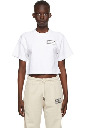 OFF-WHITE White Cropped Logo Patch T-Shirt
