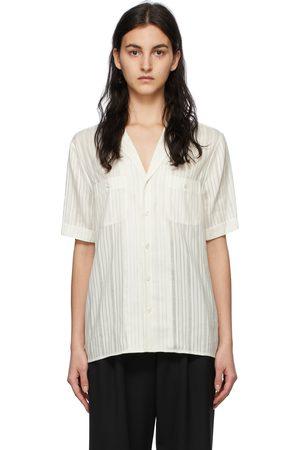 Saint Laurent Off-White Silk Striped Short Sleeve Shirt