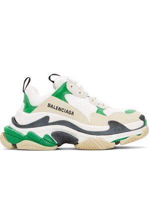 Balenciaga Dames Sneakers - Green & White Triple S Sneakers
