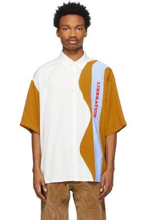 Ahluwalia Heren Korte mouw - White & Tan 'Liberation' Short Sleeve Shirt