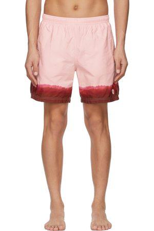 Alexander McQueen Pink & Burgundy Dip Dye Printed Swim Shorts
