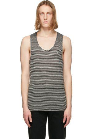 Saint Laurent Black & Grey Striped Monogram Tank Top
