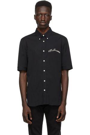 Alexander McQueen Black Poplin Embroidered Logo Short Sleeve Shirt