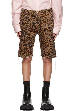 Vetements Brown Denim Leopard Haute Couture Shorts