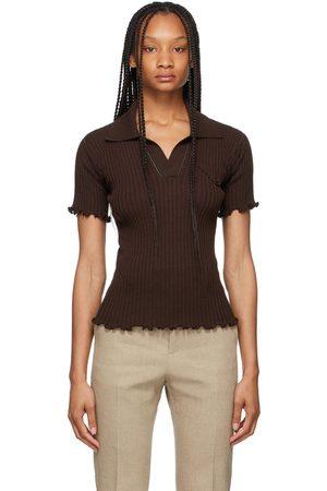 Bottega Veneta Brown Lightweight Rib Knit Polo