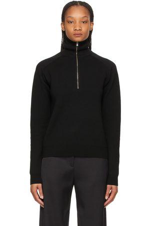 Totême Black Merino Half-Zip Sweater