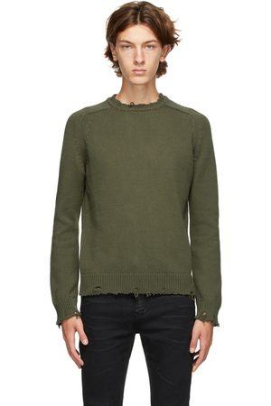 Saint Laurent Khaki Destroyed Sweater