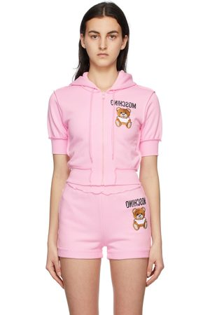 Moschino Pink Inside Out Teddy Bear Cropped Zip-Up Hoodie