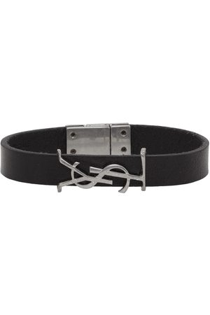 Saint Laurent Black & Silver Leather Opyum Bracelet