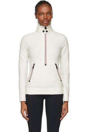 Moncler Dames Poloshirts - White Zip Mock Polo Neck Sweatshirt